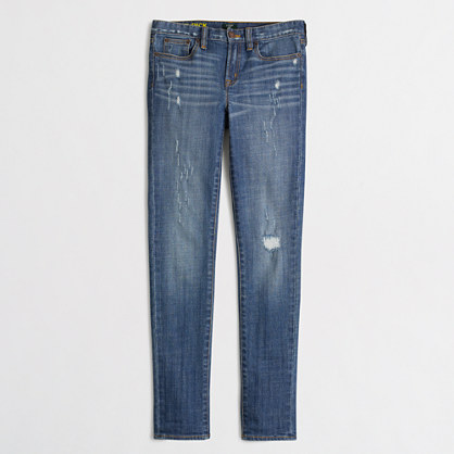 Factory midrise skinny jean in distressed indigo