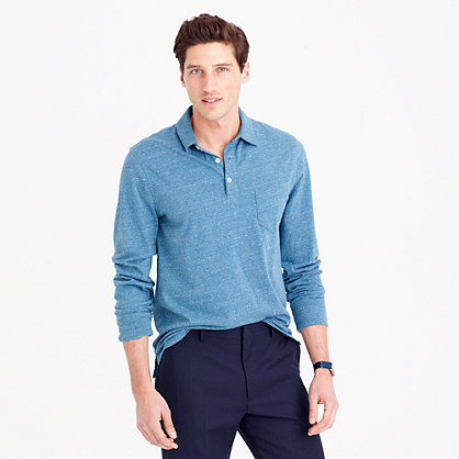 Broken-in long-sleeve pocket polo shirt