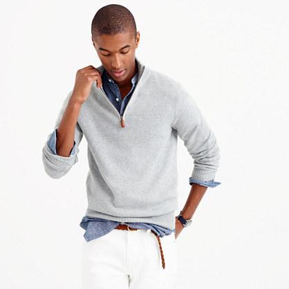 Cotton-cashmere half-zip sweater