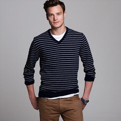 Cashmere V-neck sweater in jetty stripe : J.Crew cashmere | J.Crew