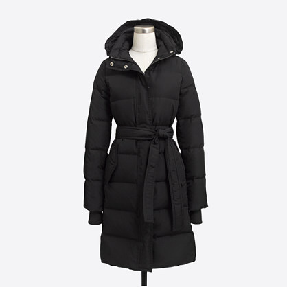 Factory long belted puffer jacket