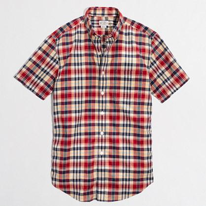 Factory short-sleeve shirt in summer plaid
