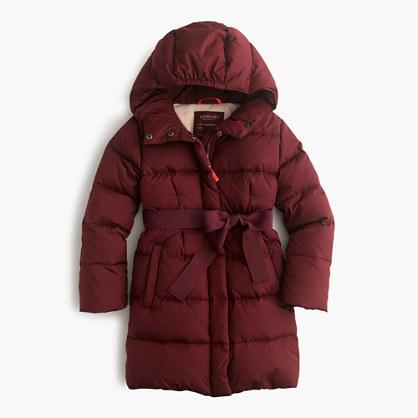 Girls' long powder puffer coat