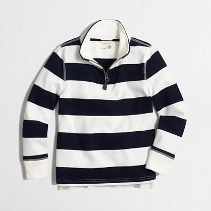 Factory boys' striped sueded half-zip popover sweatshirt