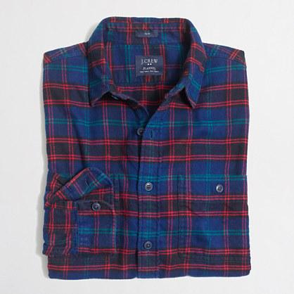 Tall plaid flannel workshirt