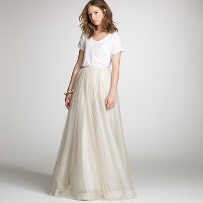 Layered tulle paget skirt for the bride j crew for How to make a long tulle skirt for wedding dress