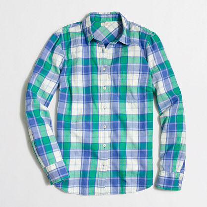 Factory petite classic button-down shirt in flannel