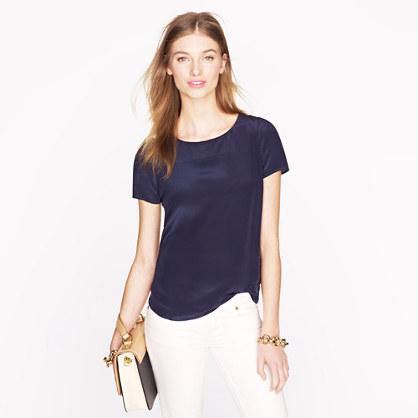 Silk short sleeve blouse shirts j crew for Silk short sleeve shirt