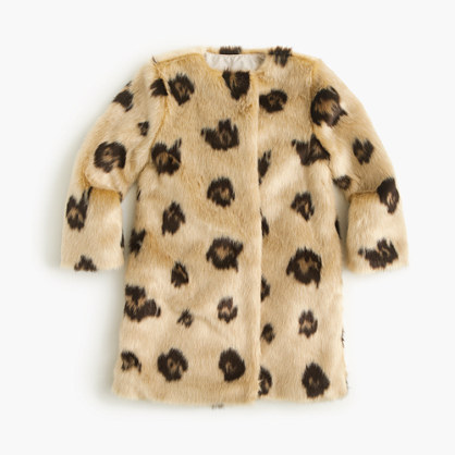 Girls' faux-fur coat in leopard