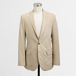 Factory Thompson suit jacket with center vent in chino