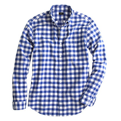 Vintage oxford shirt in dark pacific gingham casual for Mens blue gingham shirt
