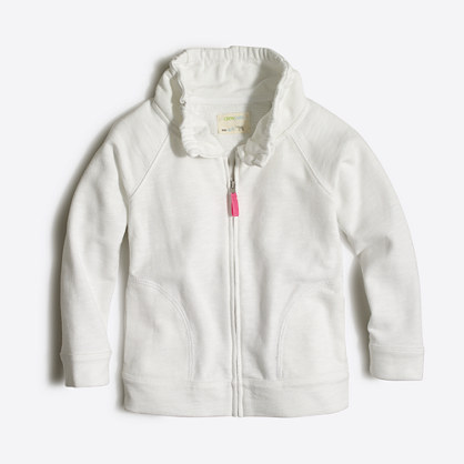 Factory girls' terry zip-up sweatshirt