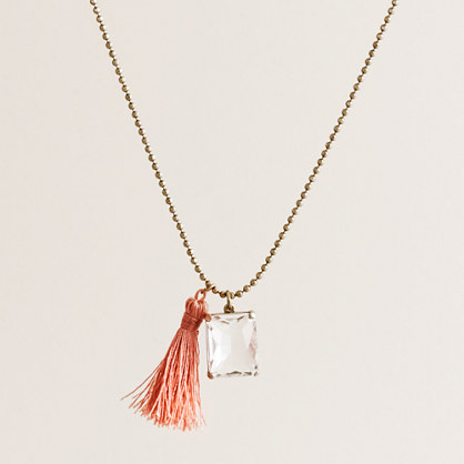 Tassel crystal pendant necklace