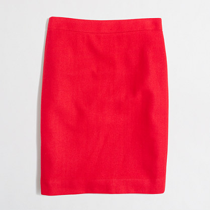 Factory tall pencil skirt in double-serge wool