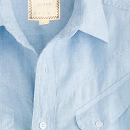Billy reid at j crew beaudreaux sport shirt in light blue for Mens light blue linen shirt
