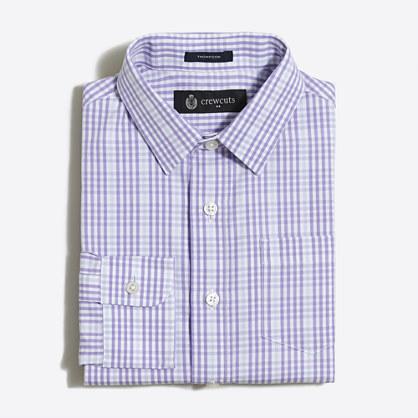 Boys' patterned Thompson point-collar dress shirt