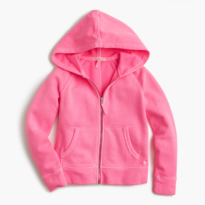 Girls' wafer terry zip hoodie