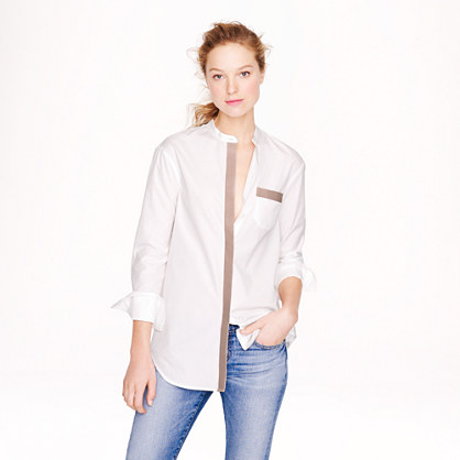 Thomas Mason® for J.Crew leather-trim tunic