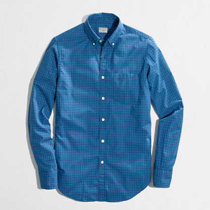 Factory washed shirt in double-color check
