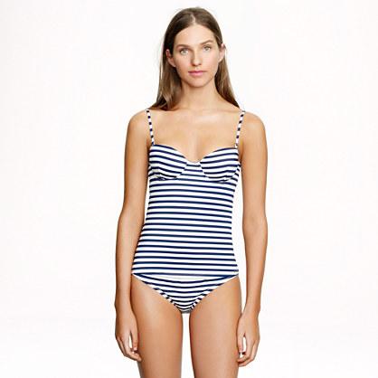 Sailor-stripe underwire swing top