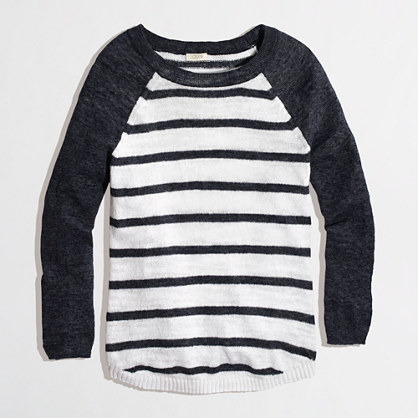 Factory airspun baseball sweater in stripe