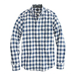 Slim Indian cotton shirt in Hudson navy plaid