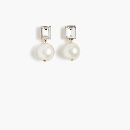 Gem pearl earrings