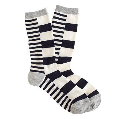 Block stripe trouser socks