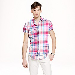 Short-sleeve vintage oxford shirt in rose plaid