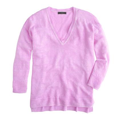 Linen V-neck sweater in garment dye