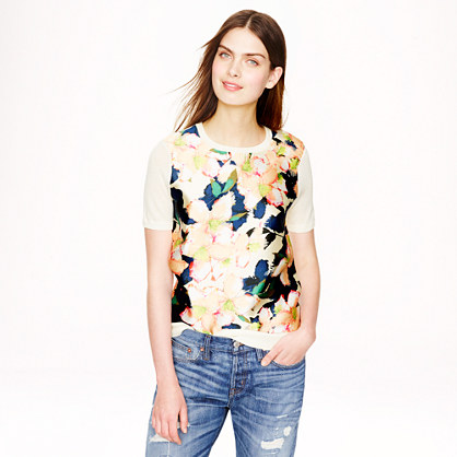 Merino silk-panel sweater in cove floral
