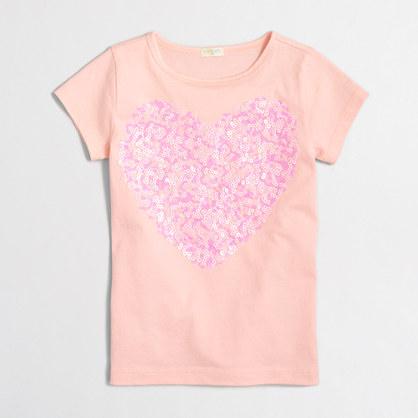 Factory girls' confetti sequin heart keepsake t-SHIRT