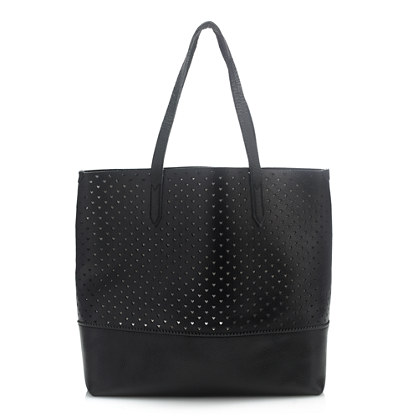 Downing tote in heart perforated leather