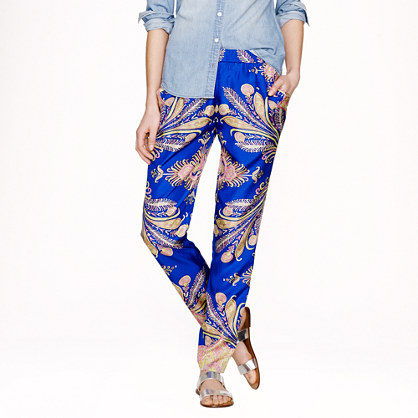 Collection silk pant in peacock paisley
