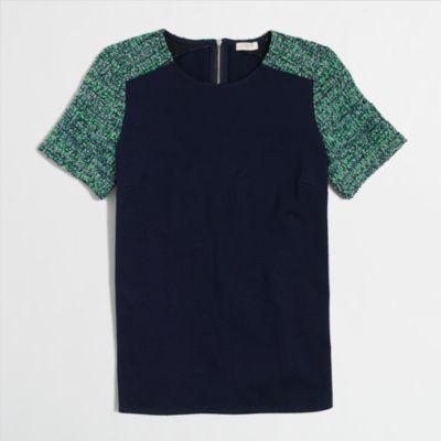 Factory tweed-sleeve top