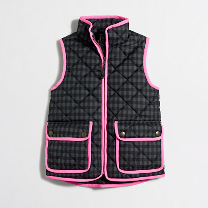 Factory girls' printed puffer vest