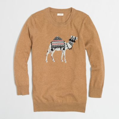 Factory intarsia camel sweater