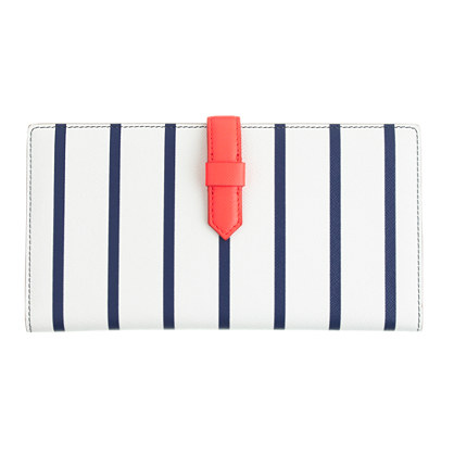 Sale alerts for J.CREW Stripe leather travel wallet - Covvet