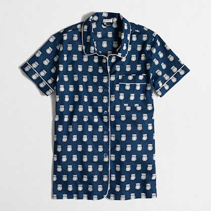 Factory short-sleeve pajama shirt in owls