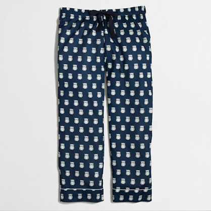 Factory cropped pajama pant in owls