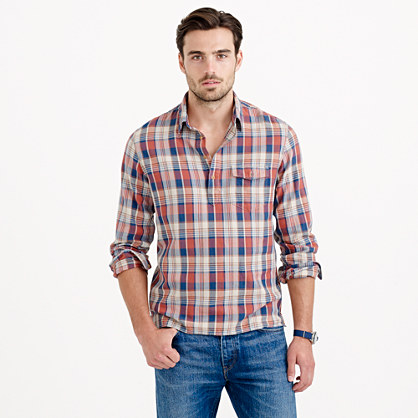 Flannel popover shirt in navy plaid