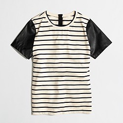 Factory leather-sleeve stripe tee
