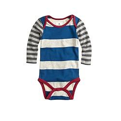 Baby long-sleeve one-piece in contrast stripe