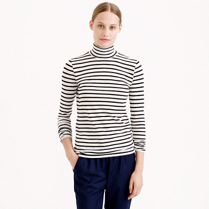 Tissue turtleneck T-shirt in heather stripe