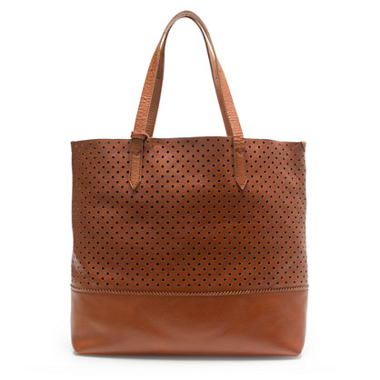 downing tote in perforated leather totes j crew