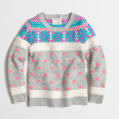 Factory girls' heart Fair Isle popover sweater
