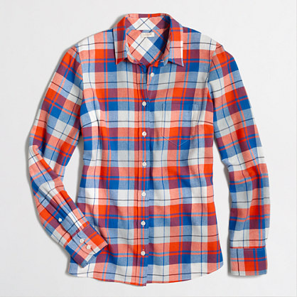 Factory petite perfect boyfriend shirt in flannel