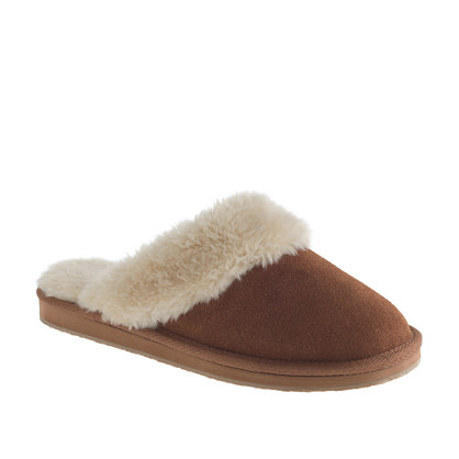 Women 39 s suede shearling scuffs for J crew bedroom slippers