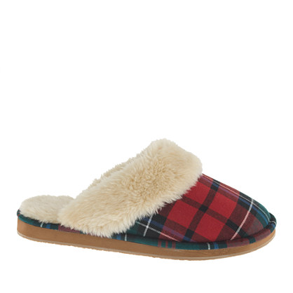 Women's plaid shearling scuffs : slippers