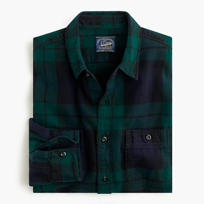 Slim herringbone flannel shirt in black watch plaid for Black watch plaid flannel shirt